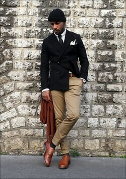 Black Blazer and Brown Derby Leather Shoes Dressing Style