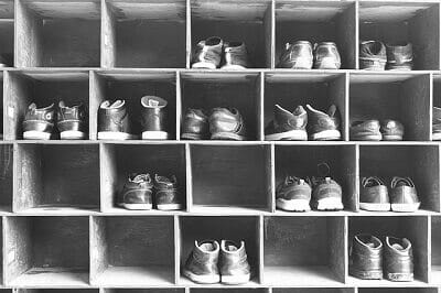 Choosing Whatever Shoes from Shoe Rack